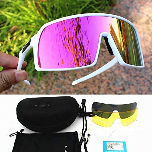 Occhiali da ciclismo polarizzati Uomo donnaOcchiali Strada Mtb Mountain Bike Bicicletta Occhiali Occhiali Sole- Sutro-white.pink
