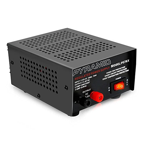 Universal Compact Bench Power Supply - 5 Amp Linear Regulated Home Lab Benchtop AC-to-DC 12V Converter w/ 13.8 Volt DC 115V AC 70 Watt Power Input, Screw Type Terminals, Cooling Fan - Pyramid PS7KX
