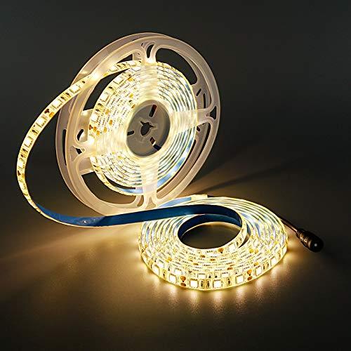 YUNBO Striscia LED Bianco Naturale 4000-4500K, 5M 12V SMD 5050 300LED Flessibile Tagliabile IP65 Impermeabile Luci a LED per Casa Camera Cucina