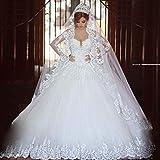 JYL Wedding Dress Bride Gown Bridesmaid Dress Neckline Open Back Double Crochet Lace Top Lace Applique Vintage Elegant Floor Length Pure White/US:6 (L)