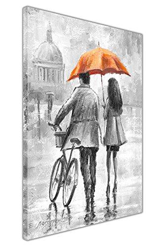 Stampa artistica su tela, in bianco e nero, con coppia che tiene un ombrello colorato, con cornice da parete, per decorazione domestica, Orange, 01- A4 - 12