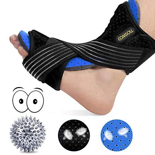 Plantar Fasciitis Night Splint by Comsoul-Foot Brace for Sleep Support-Relief from Foot Drop, AchillesTendonitis, Heel, Arch-Spiky Massage Ball for Relieve Plantar Fasciitis Pain -Soft Foam Lining