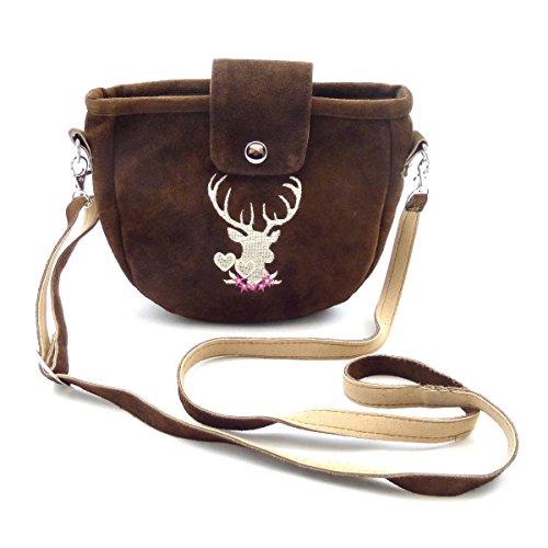 Kleine Trachtentasche Dirndltasche Umhängetasche mit Trachten-Stickerei Wild-Leder Dunkelbraun
