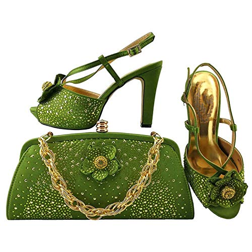 Teal Fashion - Zapatos de tacón alto para mujer, sexy, con bolsa, zapatos de fiesta, zapatos de mujer, plataforma, zapatos de boda, bolsa a juego, Verde (Verde Limón), 37.5 EU