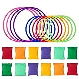 LEMESO Pack de Juegos de lanzamiento con 12 Sacos de Arena + 12 Juguetes Anillo lanzamiento Círculo de Colores, Juego Bneanbags para Niños Juegos Deportivos