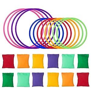 Paquete incluido: el juego contiene 12 anillos de plástico de colores, 12 bolsas de frijoles, adecuados para muchos tipos diferentes de juegos en cualquier combinación. Material no tóxico: hecho de lona y plástico de alta calidad y seguridad. Inofens...