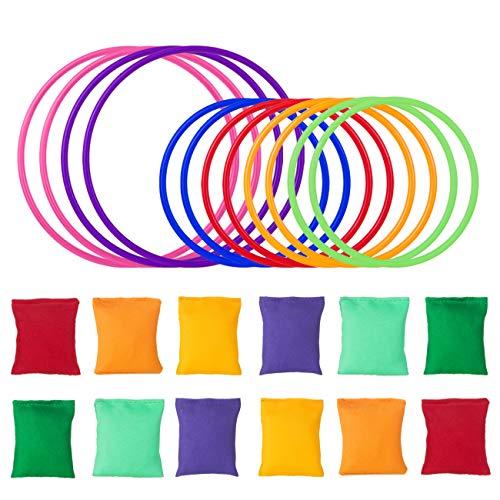 LIHAO 24 Stück Bohnensäckchen Ringen Spiel Bunt für Kinder Erwachsenen zum Wurfspiel Trainieren