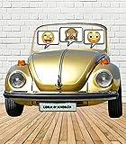 Tu Fiesta Mola Mazo Photocall Coche Escarabajo120x100cm|Divertido y económico|Detalle de Boda, cumpleaños o comunión| Personalizable