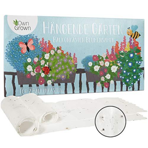 Hängende Blumen Balkonkasten Blumenmischung - 2 Premium Saatteppiche für hängende Balkon Blumen zum einfachen Anbau, Sommerblumen von OwnGrown, insektenfreundliche Blumensamen einjährig