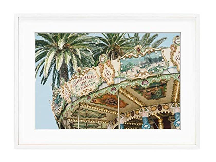 Carousel Vintage Solid Oak Natural Frame with Mount, Multicolored, 40x50