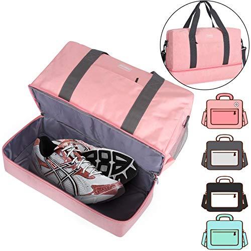 HOKEMP Männer Frauen Klassische Sporttaschen - Sport Reisetasche Reisetasche Trainingshandtasche Yogatasche Wochenendreise Trocken Nassabtrennung Schuhe Isolation Badetasche(Rosa3, XL)