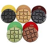 HYDDNice 5PCS 4' Floor Polishing Pads Diamond Polisher Set for Marble Concrete Floor Polishing - Grit 50 100 200 400 800