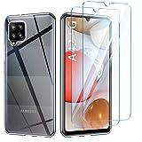 AROYI Samsung Galaxy A42 5G Hülle + [2 Stück] Panzerglas Schutzfolie, Durchsichtig Hülle Transparent Silikon TPU Schutzhülle 9H Festigkeit HD Panzerglasfolie Glas für Samsung Galaxy A42 5G