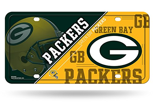 NFL Rico Industries Metal License Plate Tag, Green Bay Packers, 6 x 11.5-inches