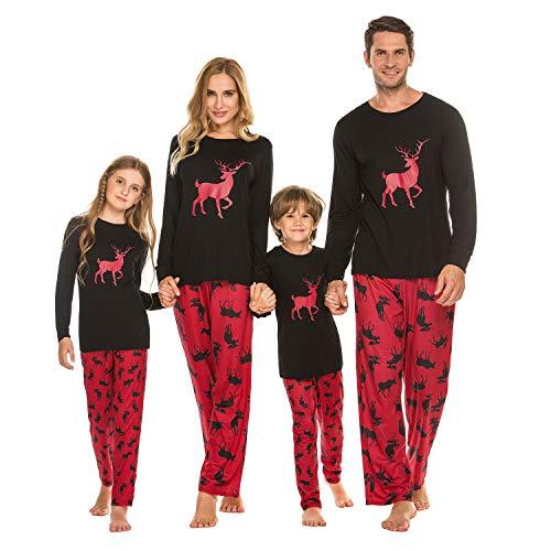 Damen Pyjama Schlafanzug Lang Zweiteilige Nachtwäsche Set Sleepwear aus Baumwolle Langarm O-Aussschnitt Hosen Hausanzug für Frauen Schwarz S