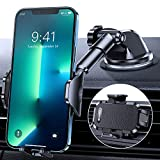 DesertWest Car Phone Holder Mount [Thick Case & All Phones Friendly] Cell Phone Holder for Car Dashboard Windshield Air Vent, Long Arm Fit with iPhone 12 11 13 Pro Max SE XR XS X Galaxy Note 20 S21