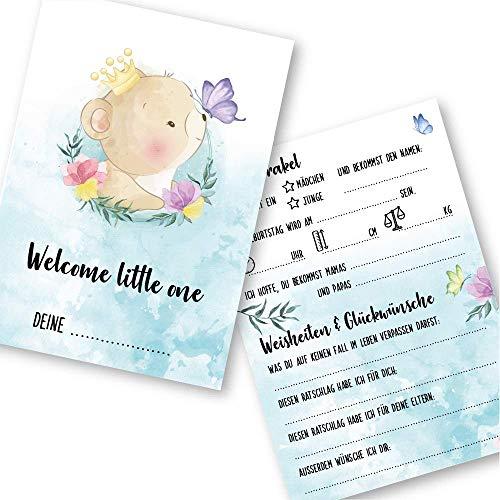 """Babyparty Spiele rate mal Karten (25 Karten, Deutsch, Motiv""""Bär"""") - Babyshower Ratespiel Mädchen und Junge - Baby Orakel Deko (Din A6 (10,5 x 14,8 cm))"""