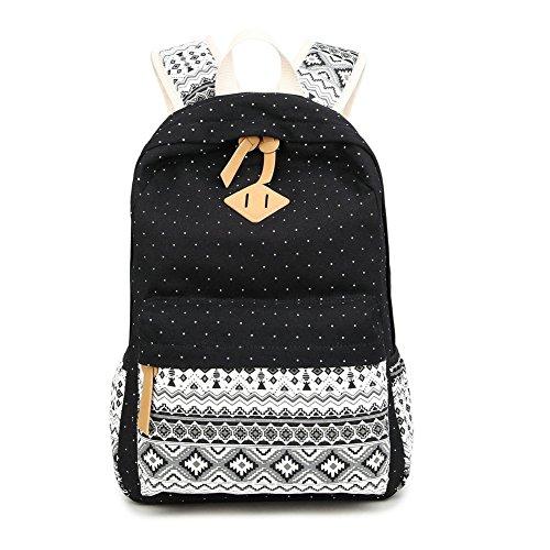 Mädchen Schulrucksack,Fashion Damen Canvas Rucksack Polka Punkt süße Spitze Kinderrucksack Outdoor Freizeit Daypacks Schultaschen für Teenager 16.5x13x5.5 Zoll (schwarz boll)