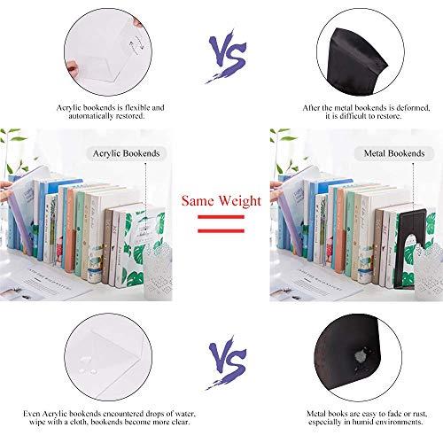MerryNine Plastic Acrylic Bookends Pair Organizer Bookshelf Decor Decorative Bedroom Library Office School Supplies Stationery Gift (Plastic Acrylic_4 Pairs) Photo #8