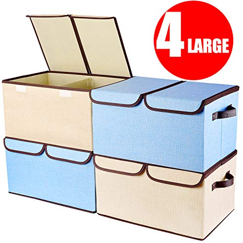 [6-Pack] Basket Bins- Senbowe Fabric Cloth Collapsible/Foldable Storage Cubes Bins Baskets Organizer Containers with Handles for Home Closet Nursery Drawers Organizers?10.6 x 10.6 x 10.6