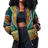 VEKDONE Halloween Costume Womens Casual African Print Zipper Dashiki Short Bomber Jacket Coat with Pockets(Green,Large)