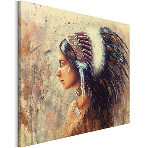 Revolio 80x60 cm Leinwandbild Wandbilder Wohnzimmer Modern Kunstdruck Design Wanddekoration Deko Bild auf Leinwand Bilder 1 Teilig - Indianerin Federschmuck Federhaube Indianer braun