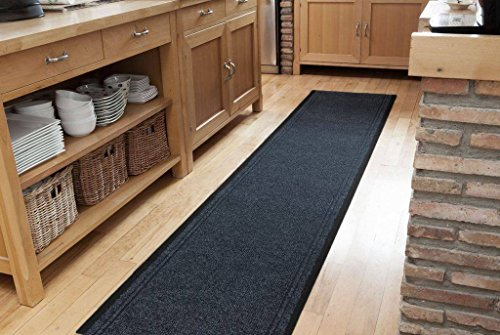 Navy Blue Dirt Catching Rubber Backed Floor Runner Rugs - Sold and Priced by The Foot - 2' 2' Wide