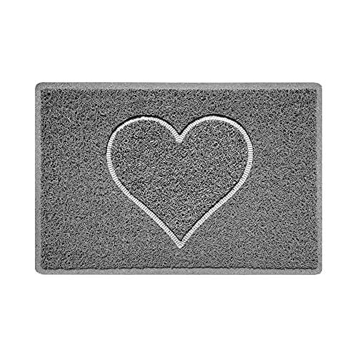 Nicoman Corazón - Felpudo Logotipo en Relieve Rizos de Vinilo Entrada Bienvenido Lavable Alfombra - (Usar en Interiores y Exteriores), Pequeño (60x40cm), Gris