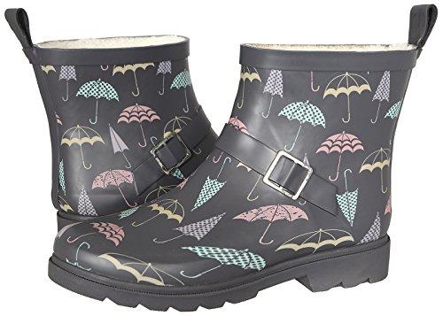 Capelli New York Ladies Umbrella Printed Short Rain Boot Grey Combo 8