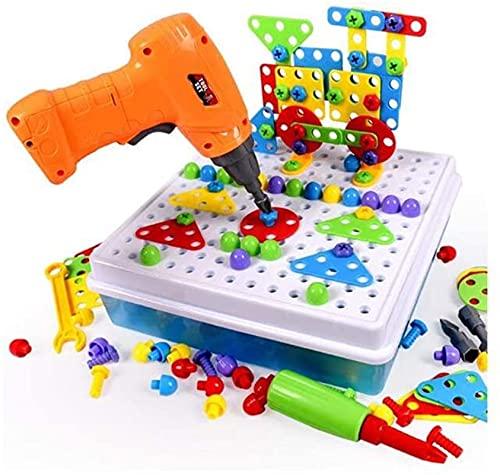 CYLYFFSFC Elektrische DIY Montage Spielzeug gemischte vertikale Block Puzzle elektrische Schraubendreher elektrische Puzzle Puzzle Früherziehung Spielzeug Kinder...