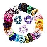 N-K 36 gomas elásticas multicolor para el pelo, resistentes al agua, anillo para el pelo, para mujer, armario, para mujer, para el pelo, coleteros de terciopelo, alta calidad