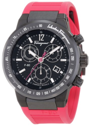 Salvatore Ferragamo Men's F55LCQ6809 SR22 F-80 Ceramic Tachymeter Bezel Sapphire Crystal Pink Rubber Chronograph Date Watch