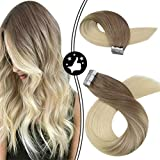Moresoo Tape in Remy Extensiones de Cabello Humano Balayage Brown #6 to Bleach Blonde Tape in Human Hair Extensions 45cm 20pcs/50g