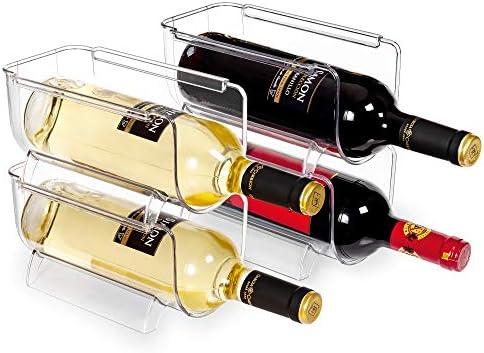 Vtopmart Refrigerator Wine and Water Bottle Holder 4Pack Stackable Plastic Wine Rack Storage product image