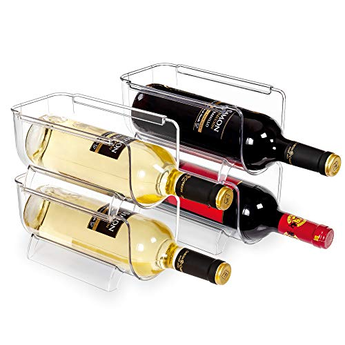 Vtopmart Refrigerator Wine and Water Bottle Holder, 4Pack Stackable Plastic Wine Rack Storage Organizer for Fridge, Cabinet, Pantry, Kitchen Countertops, Clear