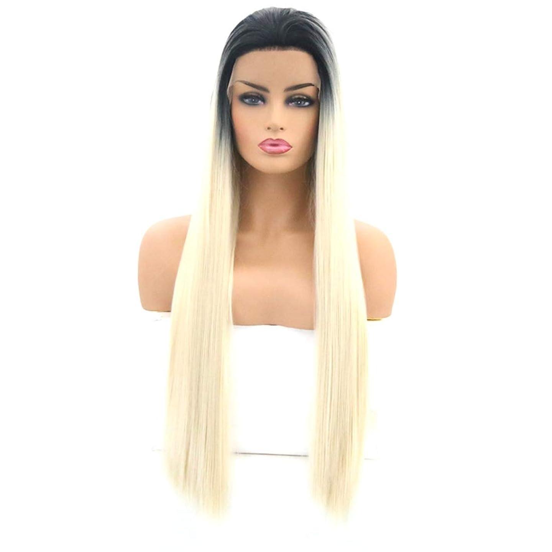 不安マウントマイクロフォンKoloeplf 女性のためのロングストレートヘアウィッグフロントレース高温シルクウィッグセット (Size : 22 inches)