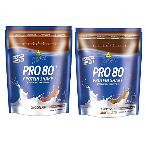 Inkospor Active Proteinshake Pro 80 Beutel 2er Mix Pack (2 x 500 g) Schoko/Espresso Macchiato, 1er Pack (1 x 1 kg)