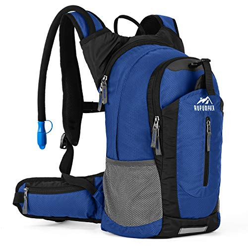 RUPUMPACK Insulated Hydration Backpack Pack with 2.5L BPA Free Bladder - Keeps Liquid Cool up to 4 Hours, Lightweight Daypack Water Backpack for Hiking Running Cycling Camping, 18L (Pure Blue)