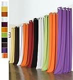 Vorhang Blickdicht Schal, 2 Stück 245x140 (HxB) Matte unifarbene Gardine mit Ösen, Weiß Material aus Microsatin Micofaser-Gewebe, 204050 - 3