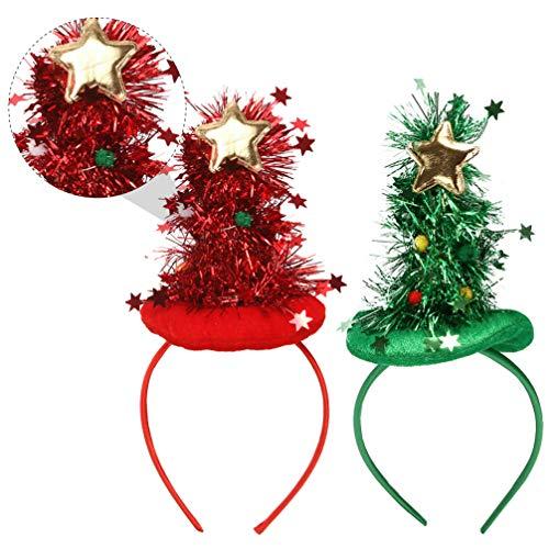 ABOOFAN 2Pcs Diademas de Navidad con Luces Diadema de Árbol de Navidad para Niños Adultos Disfraz de Vacaciones Novedad Aro de Pelo (Rojo Verde)
