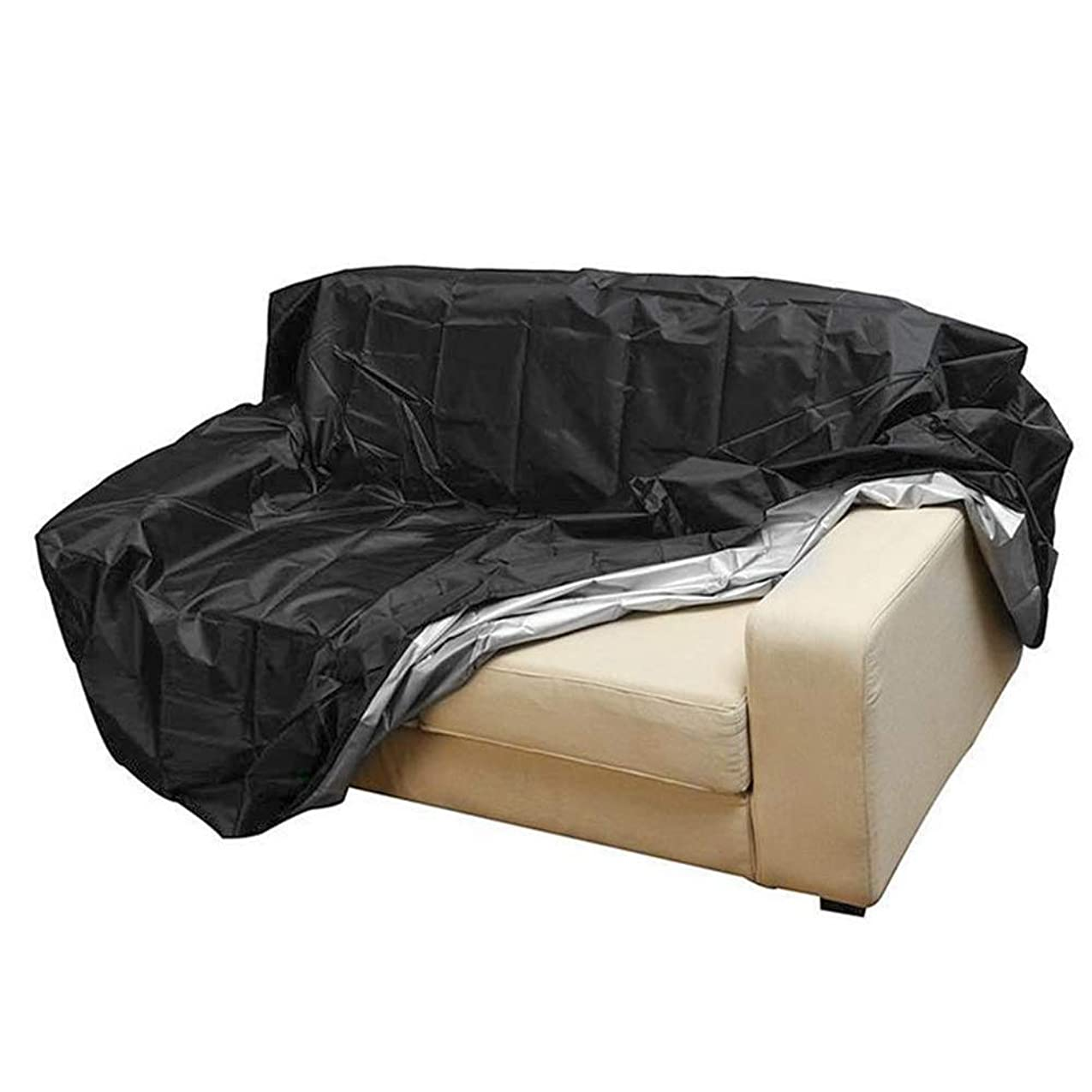 サービス情熱反発する屋外長方形ガーデン家具カバー 防水プロテクター椅子折り畳み式の公園パティオカバーシートUV耐性サンシェイドアンチダスト家具ロング屋外ガーデン (Color : 3 Seat 162x66x89cm)