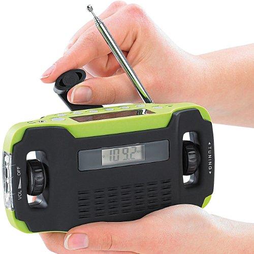 Infactory Radio de manivela: Estuche de Radio Solar y Dinamo sin batería con lámpara LED (Radio de Emergencia)