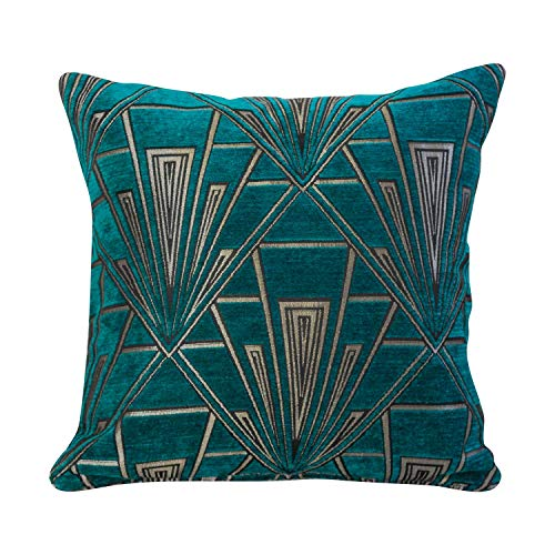 Art Deco Cushion Cover. Double Sided Velvet Chenille. Teal Blue and Silver Retro Design. 17'x17' Square Pillow. Geometric bold design. 20s and 30s style. Handmade in the UK.