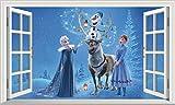 Chicbanners Autocollant Mural La Reine des neiges Anna et Elsa Olaf V301 - Taille : 1000 mm de Large x 600 mm de Profondeur