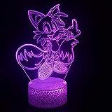 Lámpara LED de ilusión 3D para niños Lámpara Animal Cartoon Cat Sonic's Best Friend Tails Miles Prower El mejor regalo para niños Lámpara de luz nocturna LED USB para cumpleaños