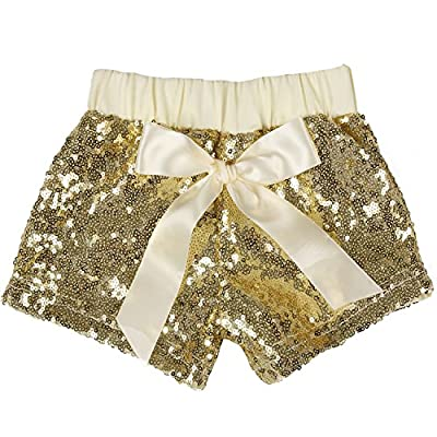 Cilucu Girls Shorts Toddler Sequin Shorts Sparkles on Both Sides Gold 5T