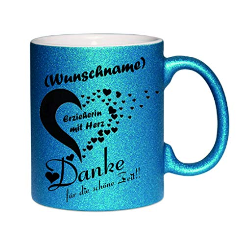 Crealuxe Glitzertasse (Dunkelblau) (Wunschname) Erzieherin mit Herz - Danke. - Kaffeetasse, Bedruckte Tasse mit Sprüchen oder Bildern, Bürotasse,