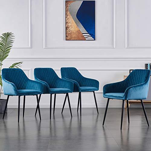1 silla de comedor de tela (terciopelo), varios colores a elegir, diseño retro, con reposabrazos, con respaldo y patas de metal, color negro (azul, 4)