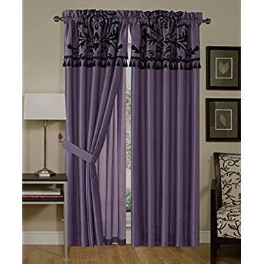 Chezmoi Collection 4-Piece Flocked Floral Faux Silk Window Curtain Set with Sheer Backing Valance, Violet/Black