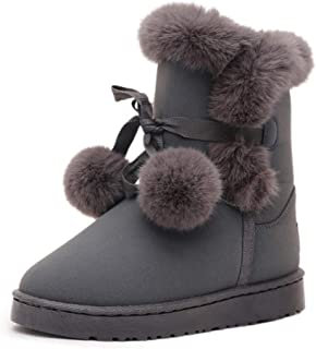Fulision Women's Snow Boots Hair Ball Short Tube Hair Ball Short Boots New Winter Plus Velvet Thick Warm Cotton Shoes Student Shoes